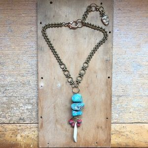 Handmade Turquoise Wolf Tooth Necklace